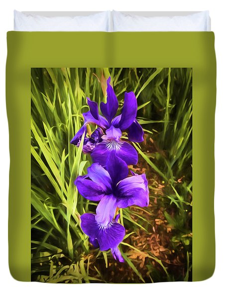 Duvet Cover featuring the photograph Desert Iris by Penny Lisowski