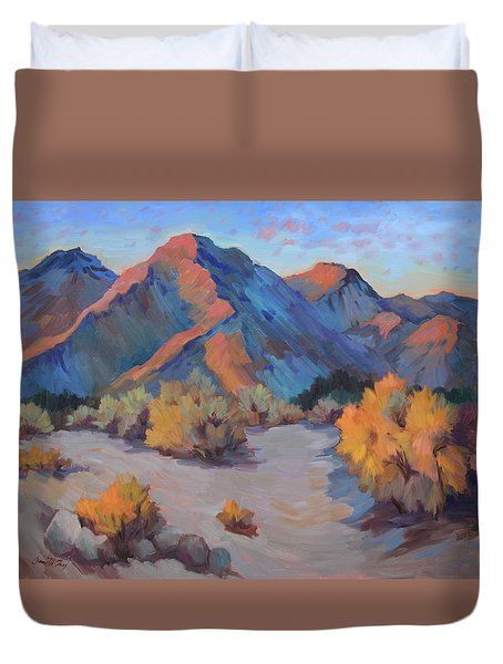 Duvet Cover featuring the painting Desert Light by Diane McClary