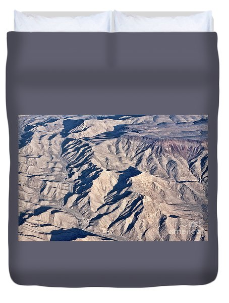Duvet Cover featuring the photograph Desert Mountain Road by Linda Phelps