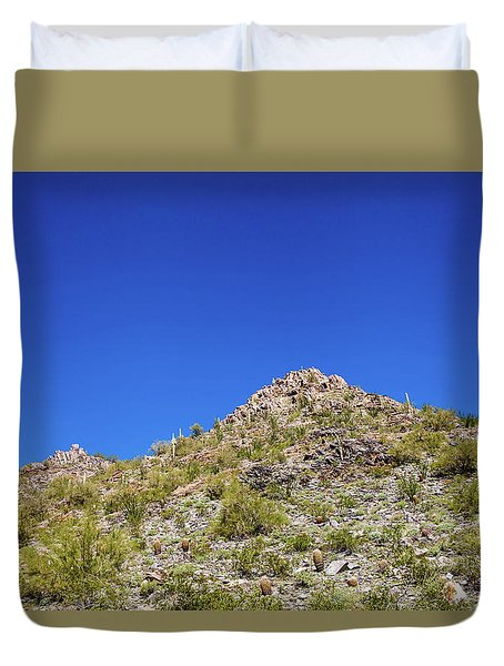 Duvet Cover featuring the photograph Desert Mountaintop by Ed Cilley