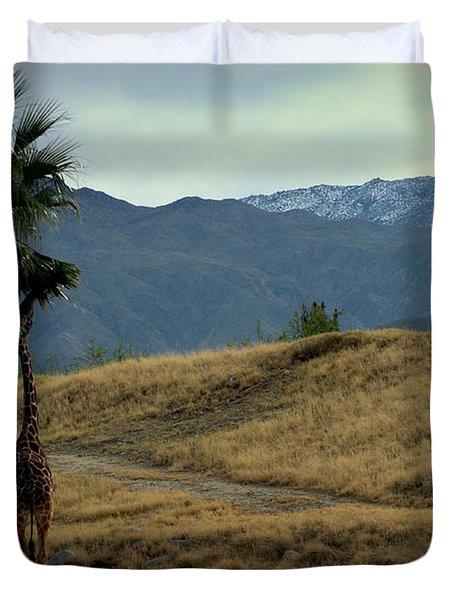 Desert Palm Giraffe 001 Duvet Cover