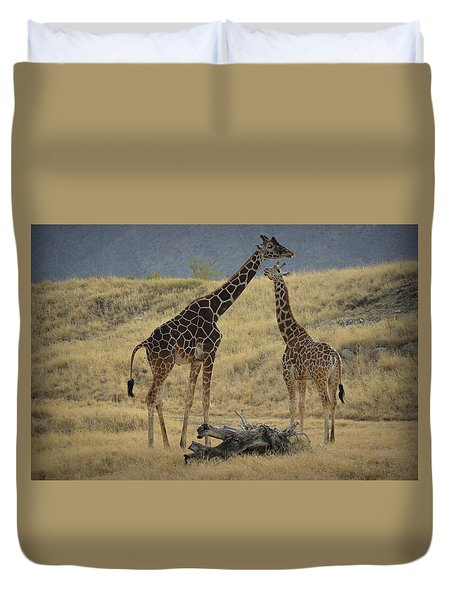 Desert Palm Giraffe Duvet Cover