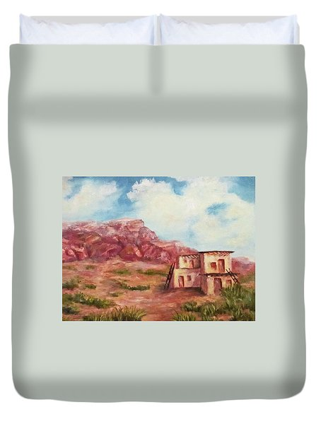 Duvet Cover featuring the painting Desert Pueblo by Roseann Gilmore