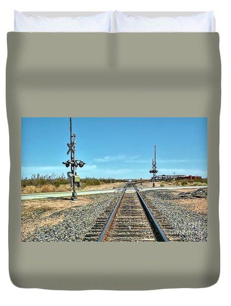 Desert Railway Crossing Duvet Cover