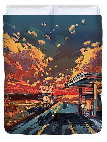 Desert Road Landscape 2 Duvet Cover by Bekim Art