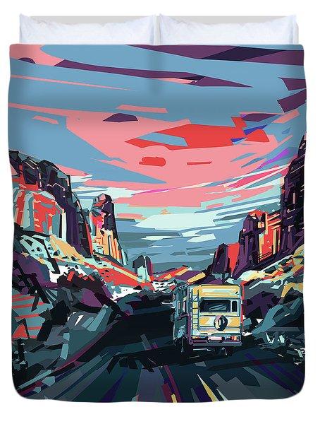 Desert Road Landscape Duvet Cover by Bekim Art
