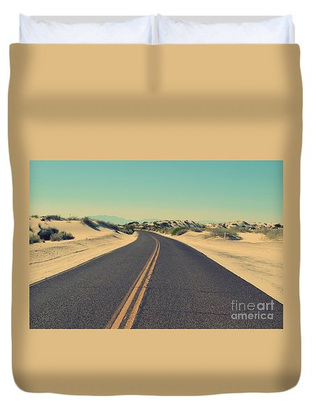 Duvet Cover featuring the photograph Desert Road by MGL Meiklejohn Graphics Licensing