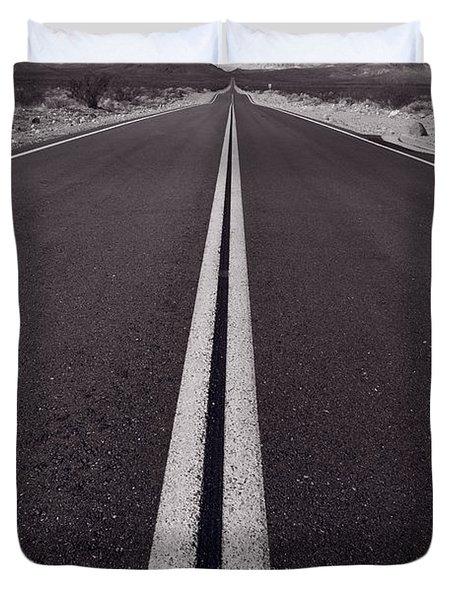 Desert Road Trip B W Duvet Cover