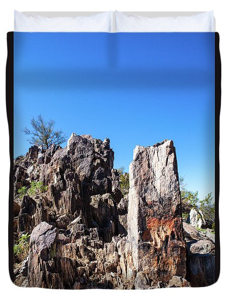 Duvet Cover featuring the photograph Desert Rocks by Ed Cilley