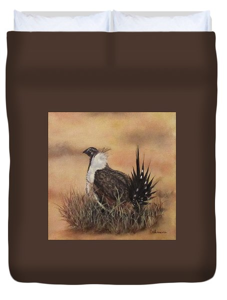 Duvet Cover featuring the painting Desert Sage Grouse by Roseann Gilmore