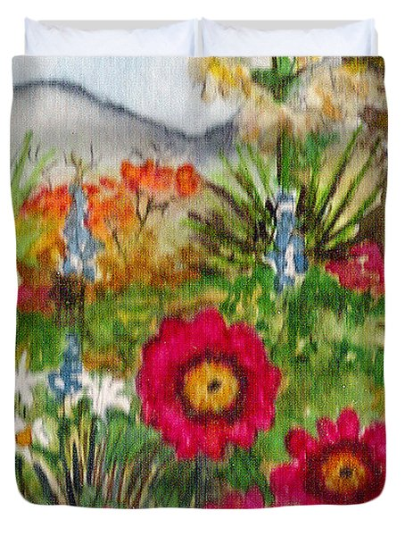 Duvet Cover featuring the painting Desert Spring by Eric Samuelson