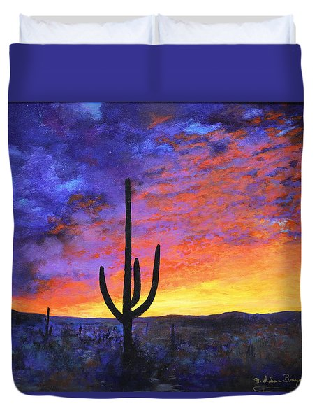 Duvet Cover featuring the painting Desert Sunset 4 by M Diane Bonaparte