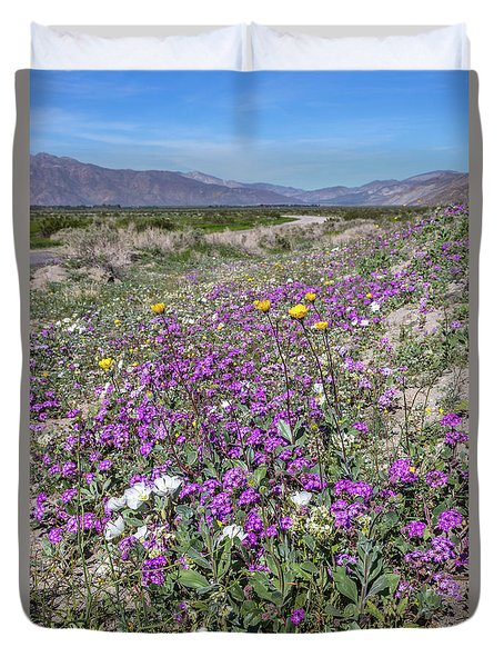 Duvet Cover featuring the photograph Desert Super Bloom by Peter Tellone