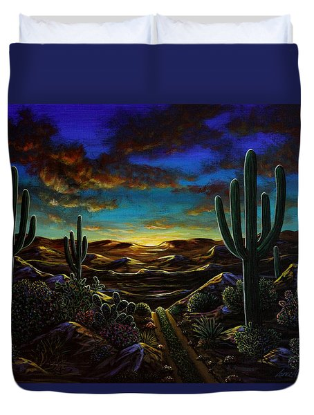 Duvet Cover featuring the painting Desert Trail by Lance Headlee