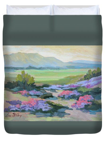 Duvet Cover featuring the painting Desert Verbena 1 by Diane McClary