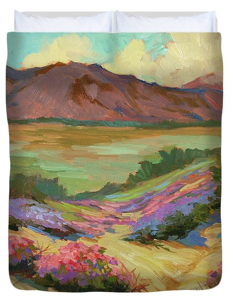 Desert Verbena At Borrego Springs Duvet Cover by Diane McClary