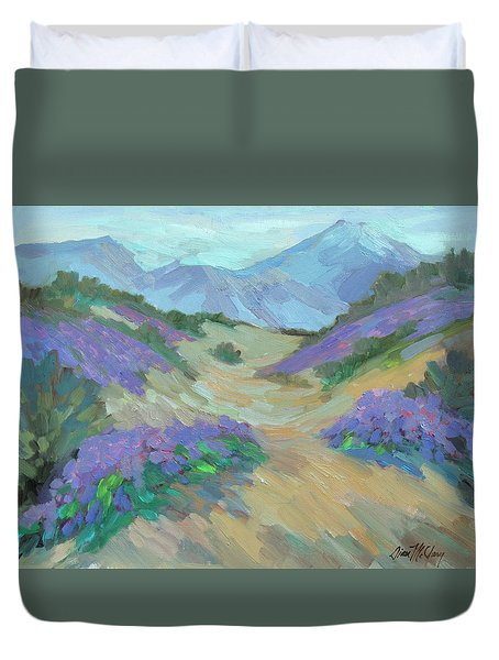 Duvet Cover featuring the painting Desert Verbena by Diane McClary