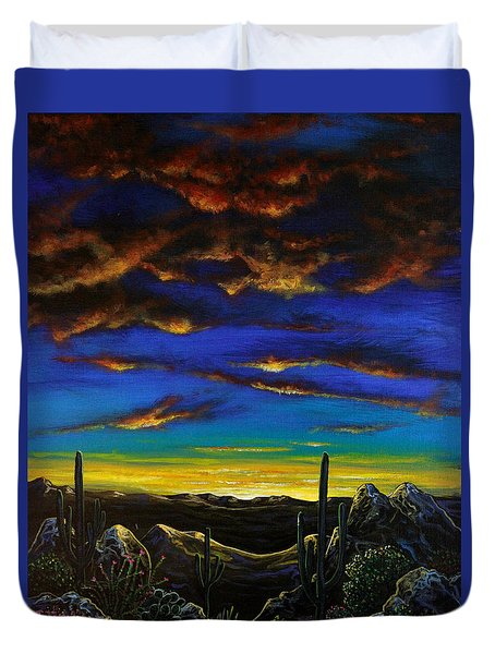 Duvet Cover featuring the painting Desert View by Lance Headlee