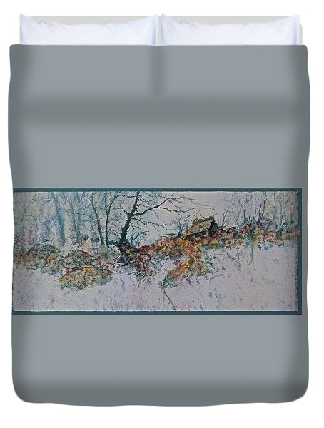 Duvet Cover featuring the painting Deserted Clearing by Carolyn Rosenberger
