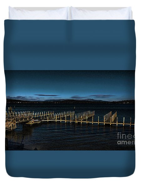 Duvet Cover featuring the photograph Deserted by Mim White
