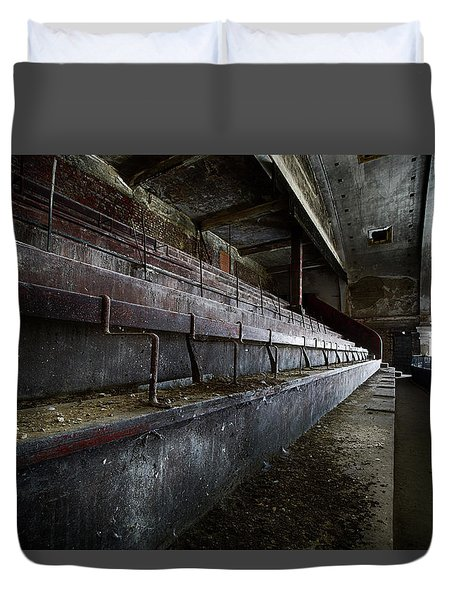 Duvet Cover featuring the photograph Deserted Theatre Steps - Urban Exploration by Dirk Ercken
