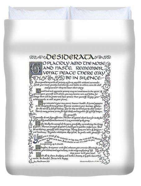 Desiderata-blue Duvet Cover