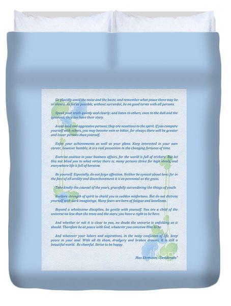 Desiderata In Blue Duvet Cover by Olga Hamilton