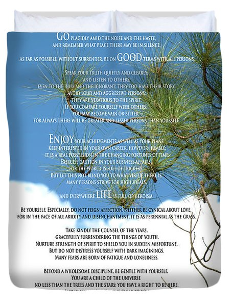 Desiderata Poem Over Sky With Clouds And Tree Branches Duvet Cover