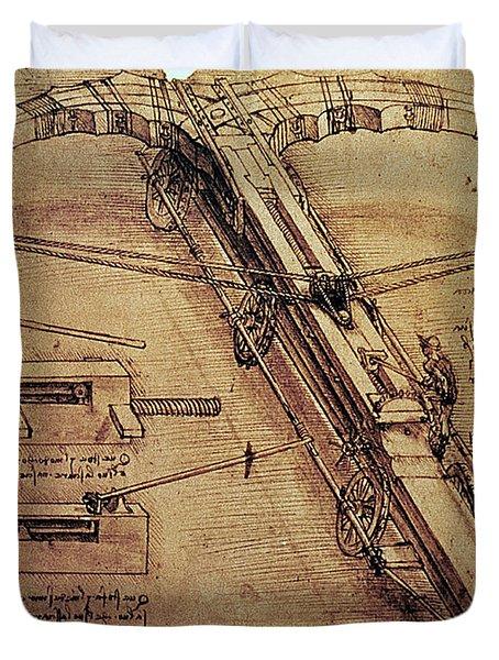 Design For A Giant Crossbow Duvet Cover by Leonardo Da Vinci