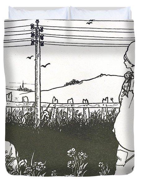 Design For End Paper Of Pierrot Duvet Cover