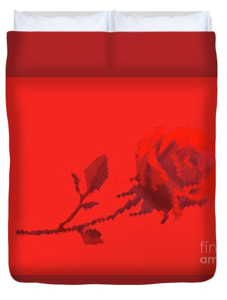 Duvet Cover featuring the photograph Designer Red Rose by Linda Phelps