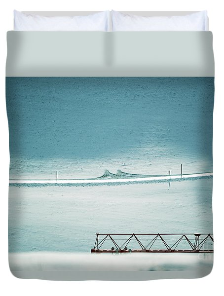 Duvet Cover featuring the photograph Designs And Lines - Winter In Switzerland by Susanne Van Hulst
