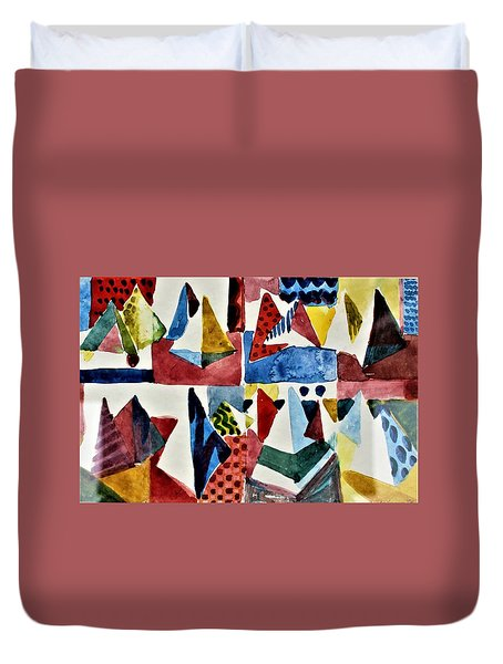 Duvet Cover featuring the painting Designs For Pyramids by Mindy Newman