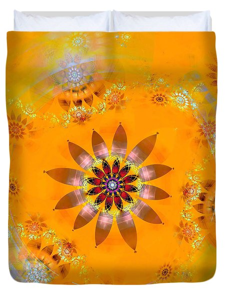Duvet Cover featuring the digital art Designs On Gold by Richard Ortolano