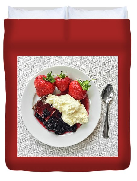 Dessert With Strawberries And Whipped Cream Duvet Cover by GoodMood Art