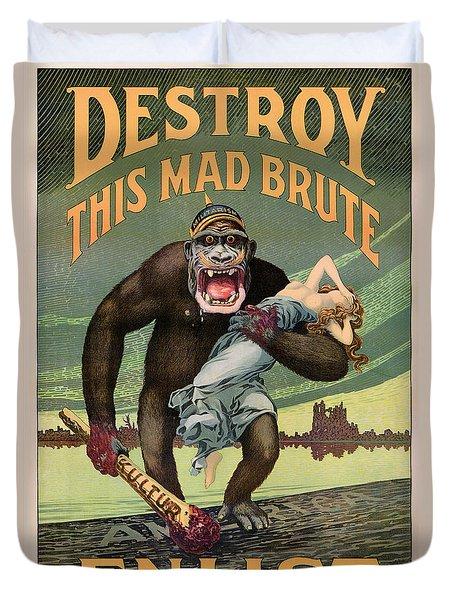 Destroy This Mad Brute - Restored Vintage Poster Duvet Cover