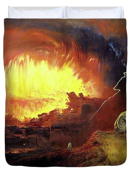 Destruction Of Sodom And Gomorah Duvet Cover