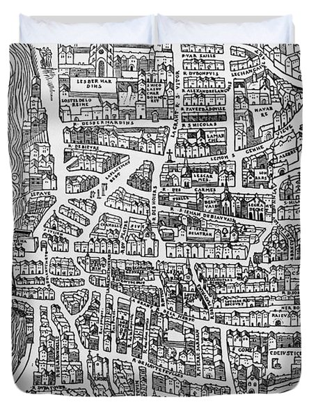 Detail From A Map Of Paris In The Reign Of Henri II Showing The Quartier Des Ecoles Duvet Cover by French School