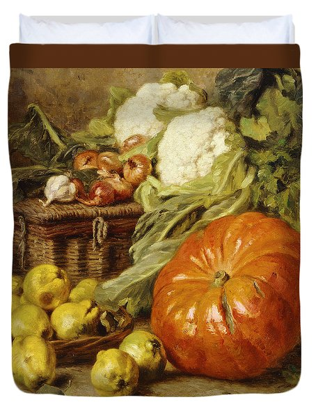 Detail Of A Still Life With A Basket, Pears, Onions, Cauliflowers, Cabbages, Garlic And A Pumpkin Duvet Cover by Eugene Claude