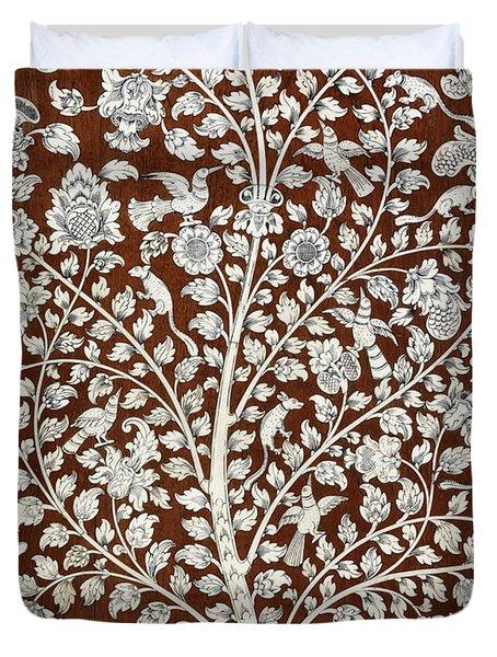 Detail Of A Vintage Botanical Pattern Duvet Cover
