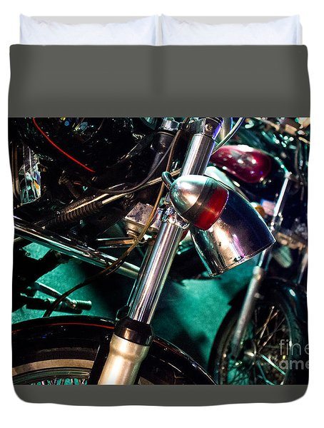 Duvet Cover featuring the photograph Detail Of Chrome Headlamp On Vintage Style Motorcycle by Jason Rosette