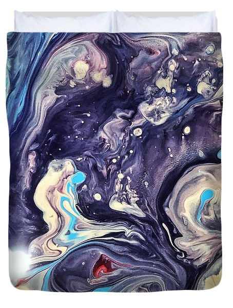 Duvet Cover featuring the painting Detail Of Fluid Painting 1 by Robbie Masso