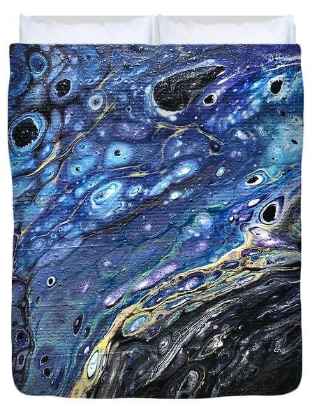 Duvet Cover featuring the painting Detail Of He Likes Space 3 by Robbie Masso