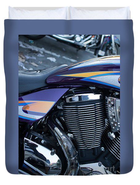 Duvet Cover featuring the photograph Detail Of Shiny Chrome Cylinder And Engine On Cruiser Motorcycle by Jason Rosette