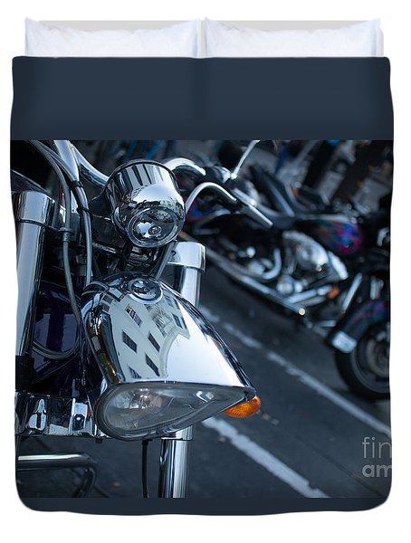 Duvet Cover featuring the photograph Detail Of Shiny Chrome Headlight On Cruiser Style Motorcycle by Jason Rosette