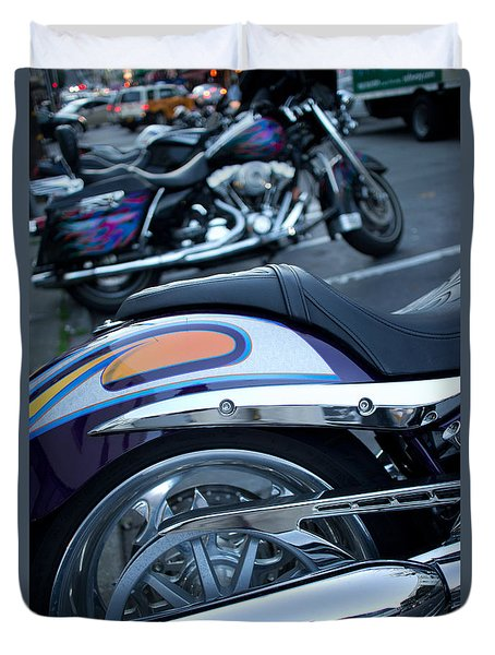 Duvet Cover featuring the photograph Detail Of Shiny Chrome Tailpipe And Rear Wheel Of Cruiser Style  by Jason Rosette