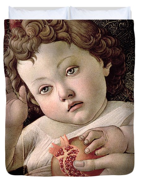 Detail Of The Christ Child From The Madonna Of The Pomegranate  Duvet Cover by Sandro Botticelli