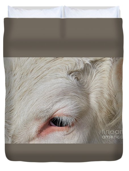 Duvet Cover featuring the photograph Detail Of The Head Of A Cow by Nick Biemans
