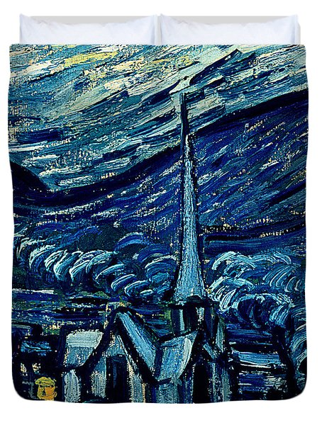 Detail Of The Starry Night Duvet Cover by Vincent Van Gogh