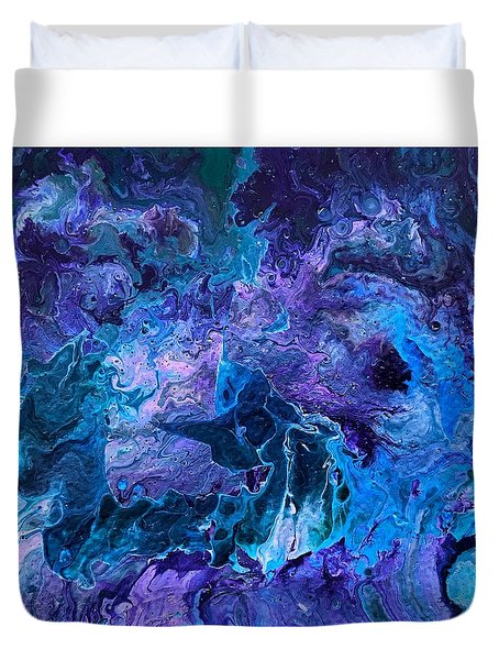Duvet Cover featuring the painting Detail Of Waves 5 by Robbie Masso